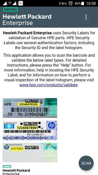 hpe parts validate help 1